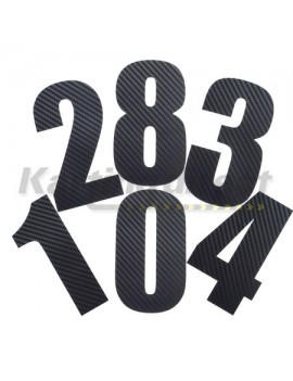 Number 0 Decal Large Black Carbon Fibre Style Sticker