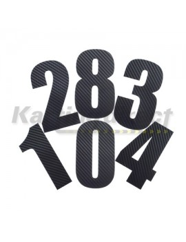 Number 0 Decal Small Black Carbon Fibre Style Sticker