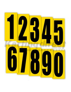 Number 0 Black Large on Yellow background Numbers