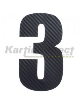 Number 3 Decal Large Black Carbon Fibre Style Sticker