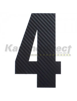 Number 4 Decal Large Black Carbon Fibre Style Sticker
