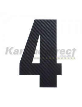 Number 4 Decal Small Black Carbon Fibre Style Sticker
