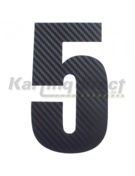 Number 5 Decal Large Black Carbon Fibre Style Sticker